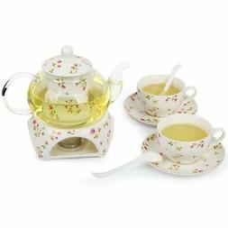 27 oz tea maker teapot with a Porcelain warmer and 2 set of