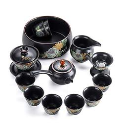 HE- Cup Tea Set,Business Gift Household Tianmu Ceramic Pot C