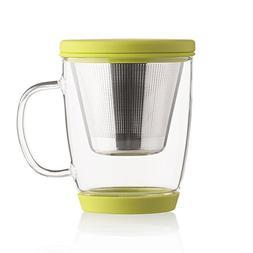 Emoi 16oz Teapot, Glass Brewing Tea Cup, Tea Infuser Mug, Lo