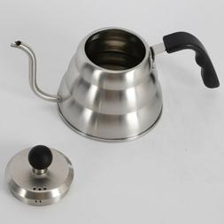 TOP Coffee Drip Kettle 1L Tea Drip pot Silver Slender Goosen