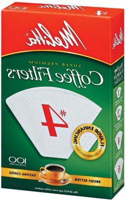 Melitta 624102 Cone Coffee Filters No. 4 - 100 Count - 100 /