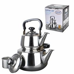 Aramco WLA037 Double Tea Kettle, 1.2/3L, Stainless Steel